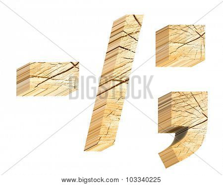 Signs from pine wood alphabet set isolated over white. Computer generated 3D photo rendering.