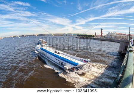 River Cruise Boats On The Neva River In Summer Sunny Day. St. Petersburg, Russia