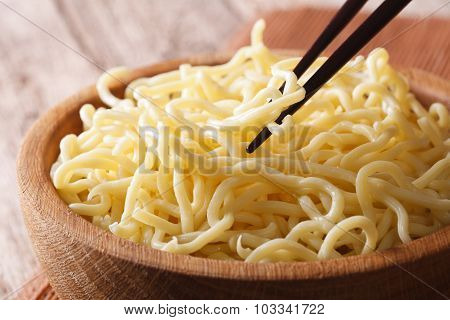 Asian Food: Ramen Noodles Macro In A Wooden Bowl. Horizontal
