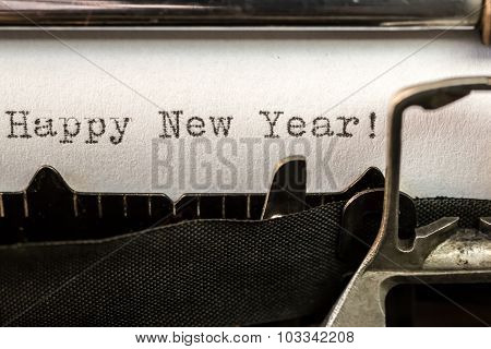 Happy New Year Text Written By Old Typewriter