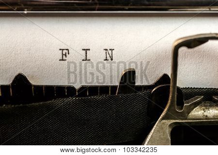 Fin Text Written By Old Typewriter