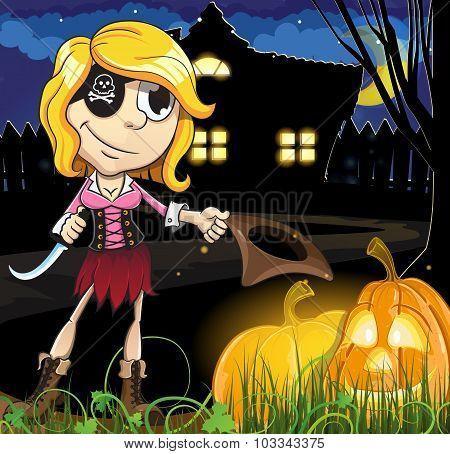Halloween Pirate Girl  Near The Haunted House