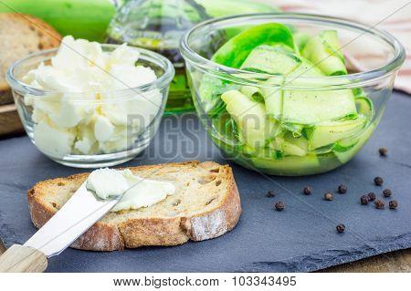 Making Soft Cheese And Zucchini Bruschetta