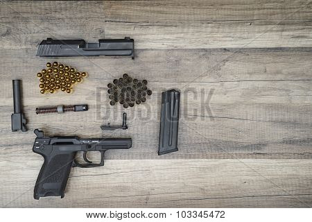 Gun With New And Used Bullets