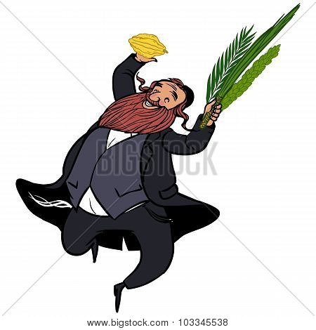 Funny Cartoon Jewish Man Dancing Wiht Ritual Plants For Sukkot.  Vector Illustration