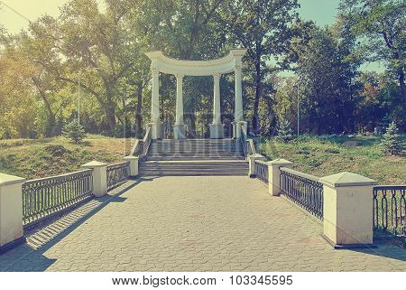 Old Greek Style Columns In Park