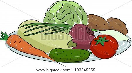 A plate of vegetables, vector illustration