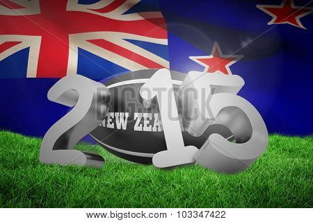New zealand rugby 2015 message against new zealand flag against white background