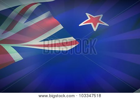 Cropped New Zealand flag against blue background