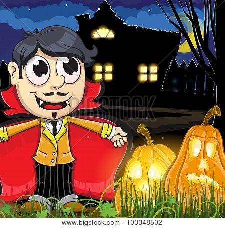 Vampire Boy Near The Haunted House