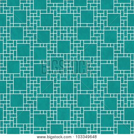 Teal And White Square Abstract Geometric Design Tile Pattern Repeat Background