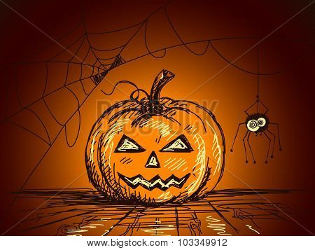 Halloween Sketch of Pumpkin and Spider on web, Hand drawn illustration