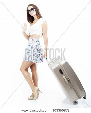 Tourist Woman With Suitcase Waving Hand Isolated