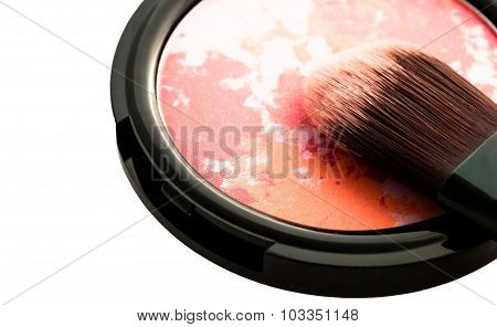 Makeup Multicolored Blush With Brush Closeup Isolated