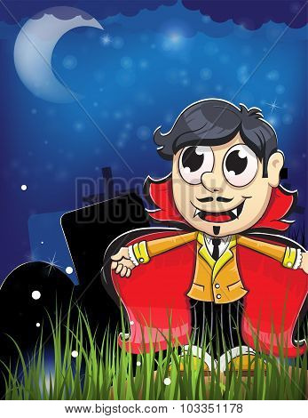 Vampire Boy In The Night Cemetery
