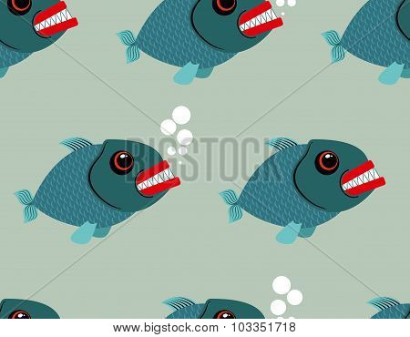 Piranha Seamless Pattern. Toothy Fish Vector Background. Terrible, Bloodthirsty Saltwater Fish. Mari