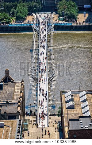 Aerial View Of Millenium Bridge In London With Walking People