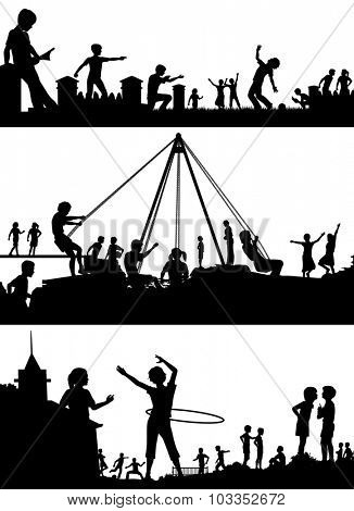 Set of illustrated foreground silhouettes of children playing in school playgrounds