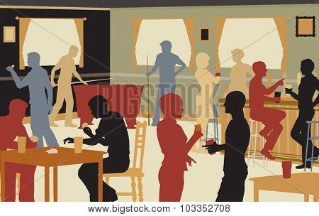 Colorful cutout illustration of people drinking in a busy bar and enjoying typical pub games