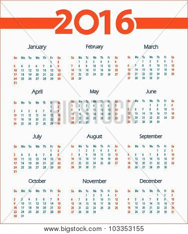 2016 simple calendar white background. Week starts with Sunday