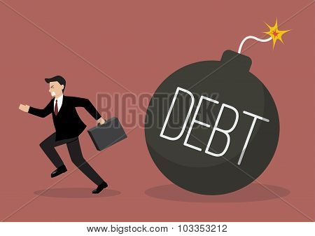 Businessman Run Away From Debt Bomb