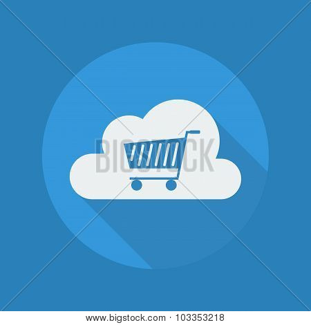 Cloud Computing Flat Icon. Cart