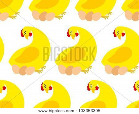 Chicken Farm Seamless Pattern. Vector Background Of Chickens And Eggs. Many Hens Laying.