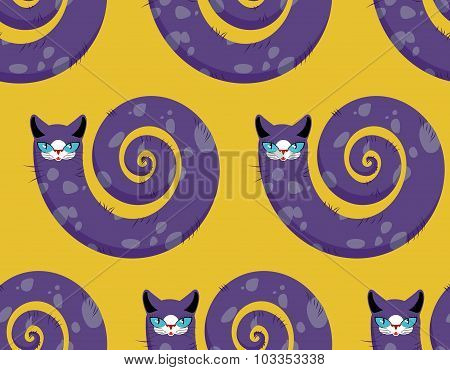 Purple Cat Seamless Pattern. Fabulous Animals Vector Background. Cats Head And Torso Of Serpent.