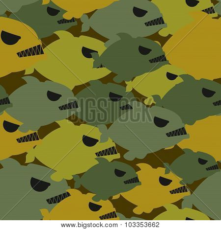 Army Military Camouflage From Piranha. Protective Texture For Soldiers Clothing From Evil Sea Fish.