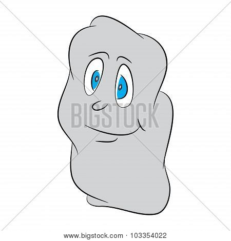 Image Of Shy, Lovely, Cute, Halloween Cartoon Ghost. Vector Illustration Isolated On Black Backgroun