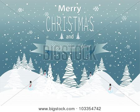 Merry Christmas and Happy New Year landscape on blue background.
