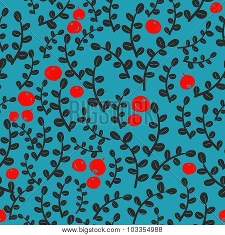 Seamless pattern with forest berries.