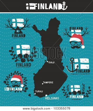 Creative geographic map of Finland.