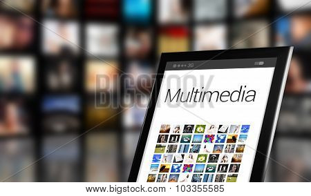 Multimedia Concept, Tablet With Many Icons