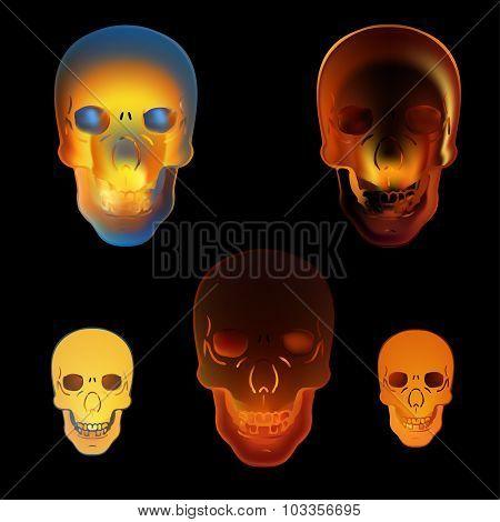 Image Illustration Fire Skull On Black Background