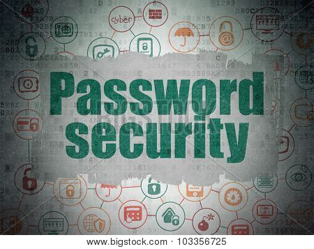 Protection concept: Password Security on Digital Paper background