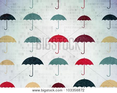 Protection concept: Umbrella icons on Digital Paper background