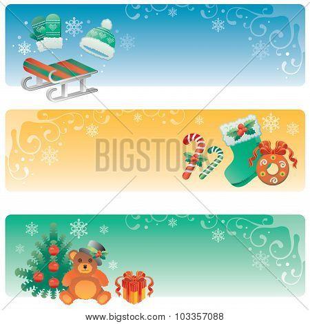 Set Of Christmas Banners.