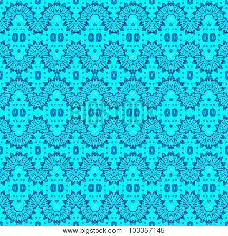 Seamless wave pattern turquoise blue