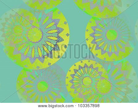 Seamless floral pattern turquoise gold