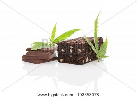 Cannabis Chocolate And Brownie.