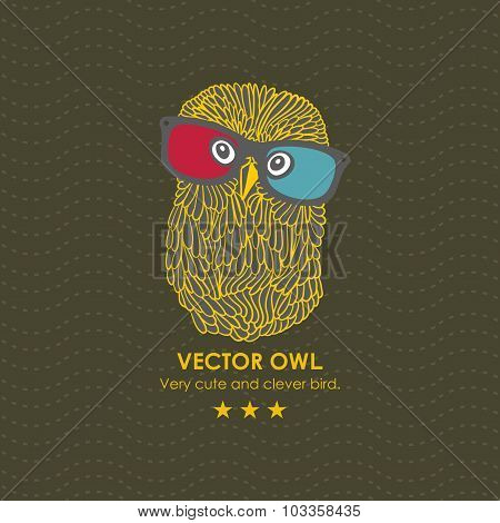 Cute owl in the 3D cinema.