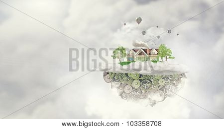 House construction model with cogwheel mechanism on sky background