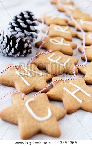 Gingerbread stars with letters spelling 'merry christmas' tied with bakers twine used for christmas decoration and ornament