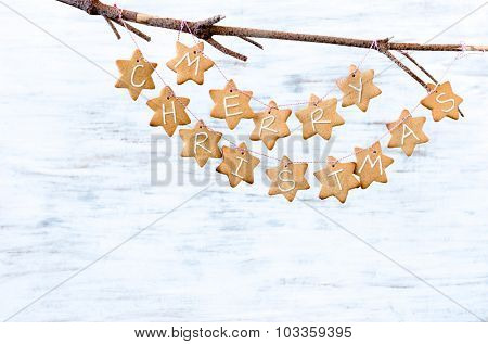 Gingerbread stars with 'merry christmas' tied with bakers twine, hanging off a bare branch on white rustic background