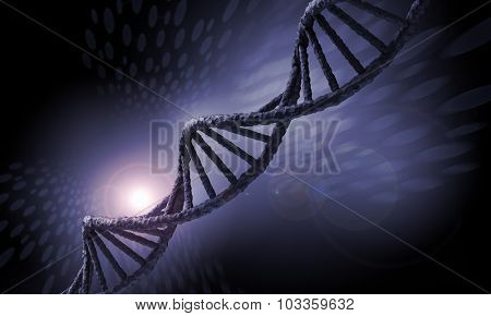 Biochemistry background concept with high tech dna molecule