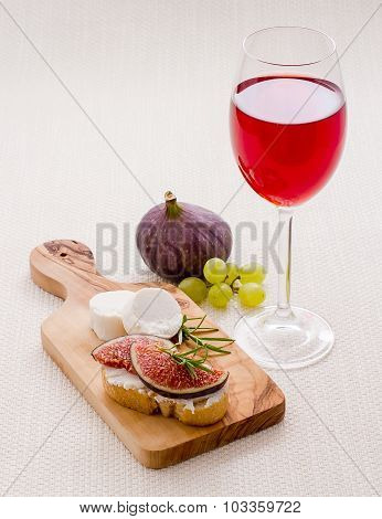 Feta Cheese With Ripe Fig And Red Wine