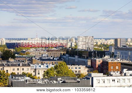 Aerial View Of Warsaw & The National Stadium