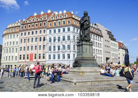 A Statue Of Martin Luther In Dresden