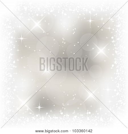 Abstract vector Christmas card with shiny effect, stars and snowfall.